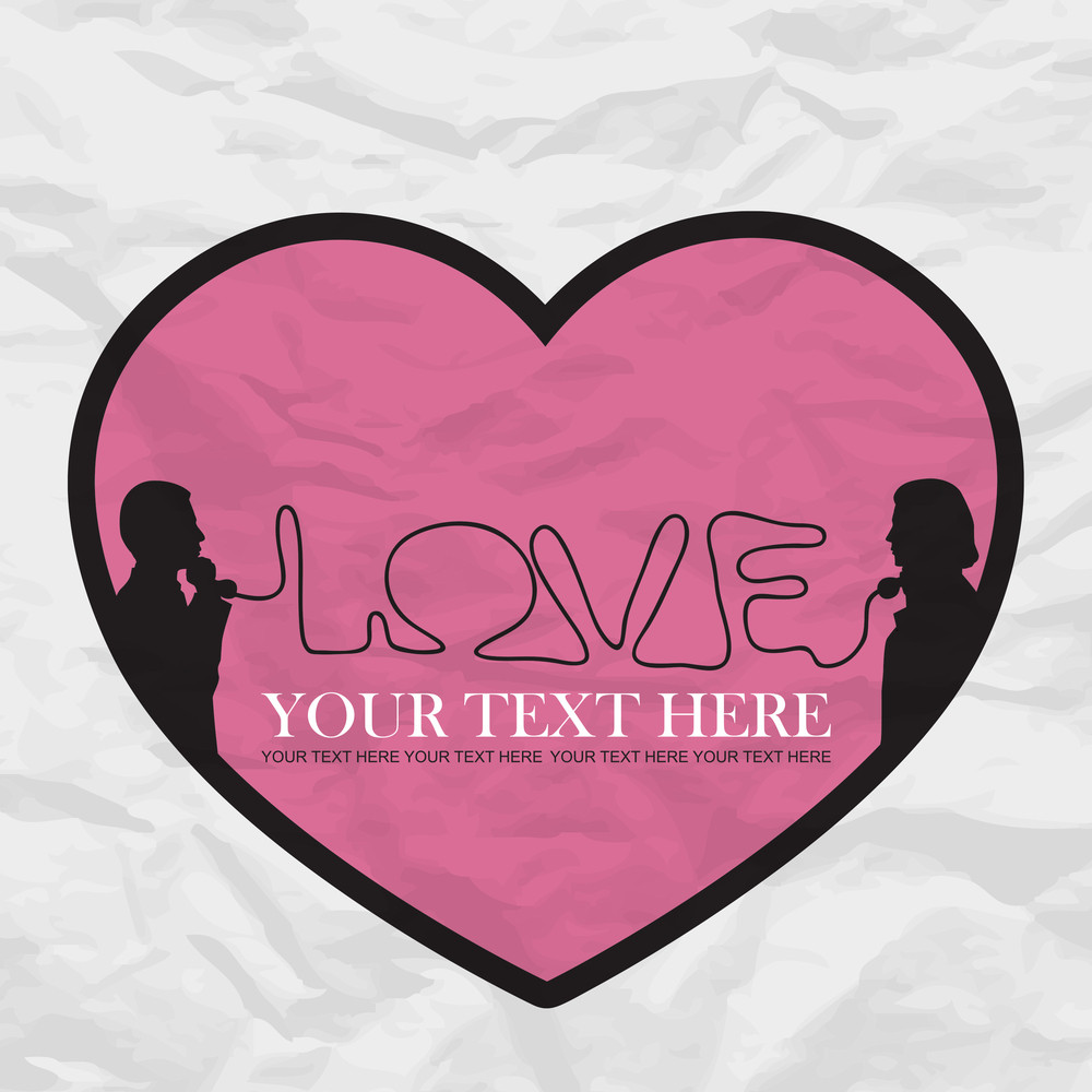 Abstract Romantic Vector Ilustration Of Two People Speaking By Phone And Heart