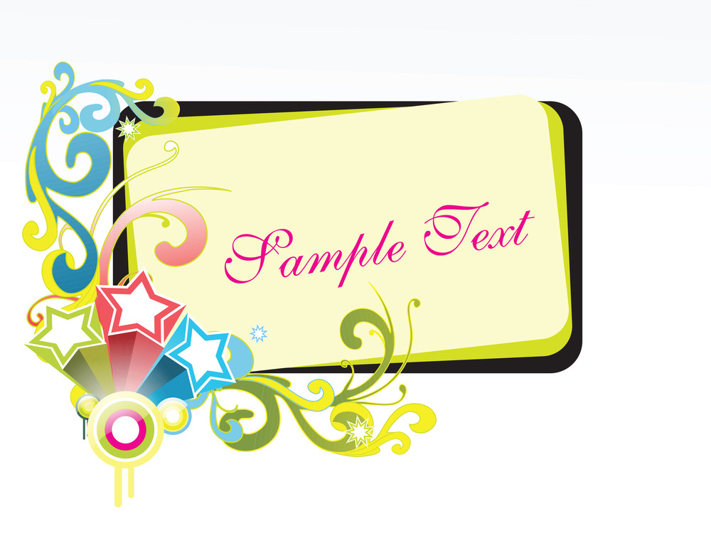 Abstract Sample Text Frame With Fireworks Objects