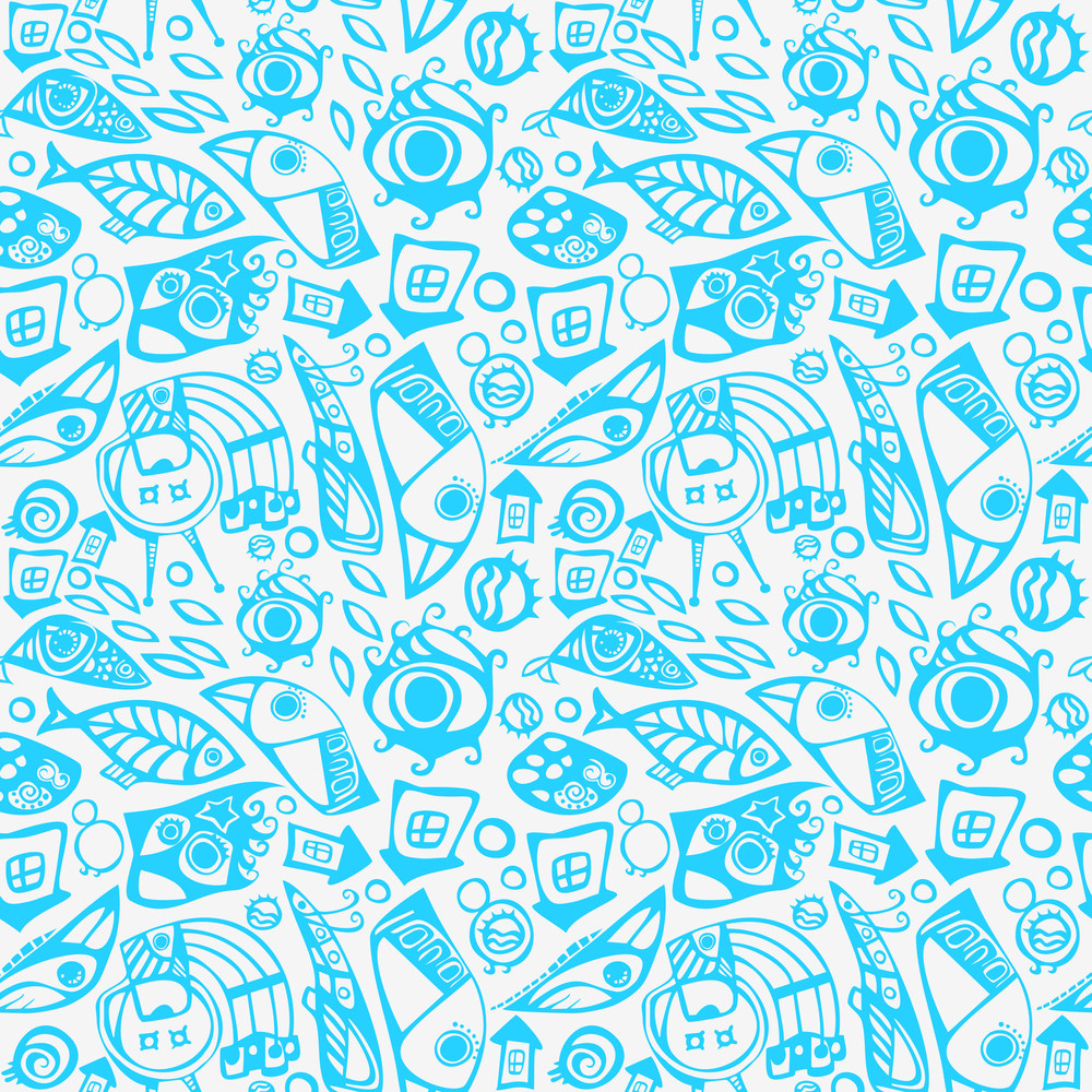 Abstract Seamless Pattern In Blue
