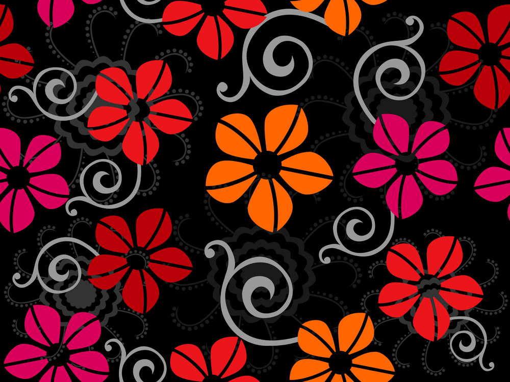 Abstract Seamless Pattern With Flower. Vector