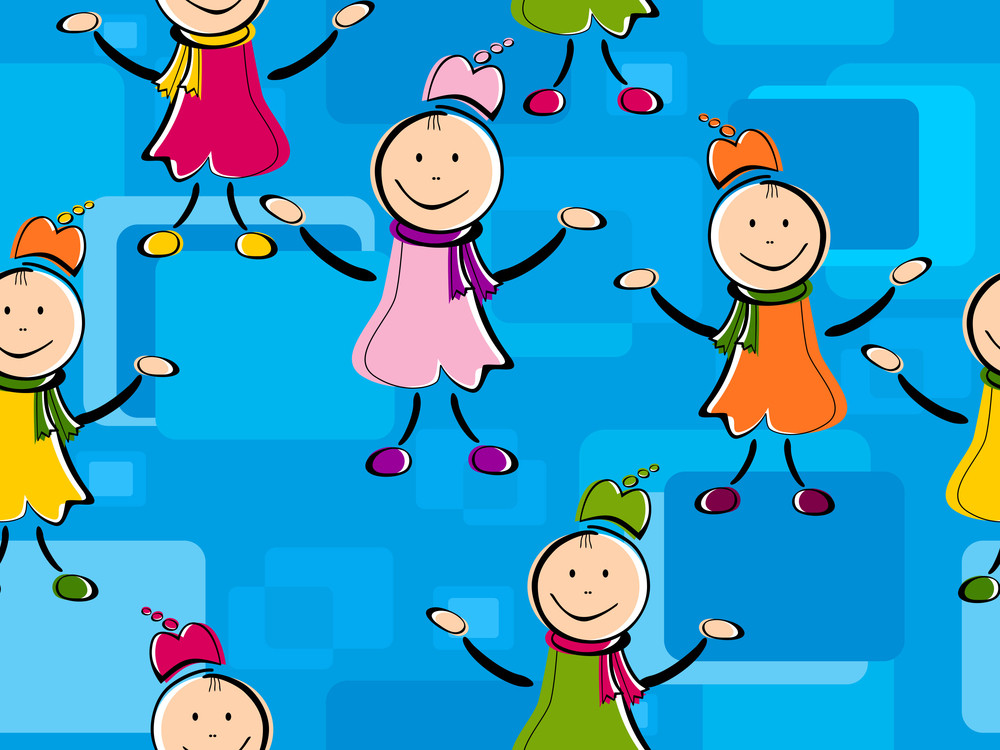 Abstract Seamless Pattern With Kiddish Characters. Vector