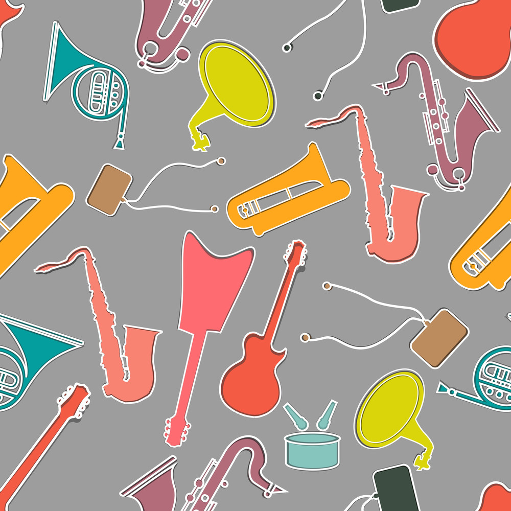 Abstract Seamless Pattern With Musical Instrument