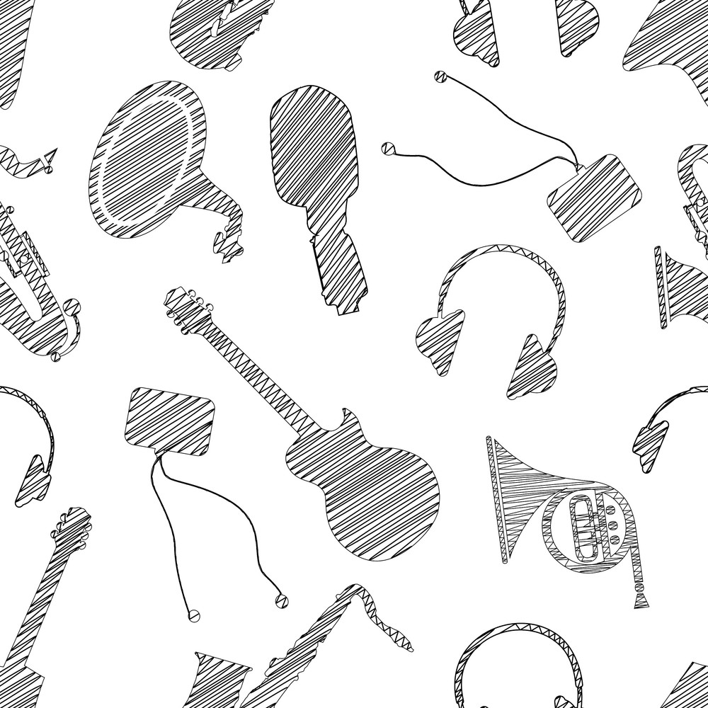 Abstract Seamless Pattern With Musical Instruments