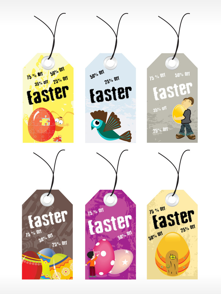 Abstract Set Of Easter Day Tag