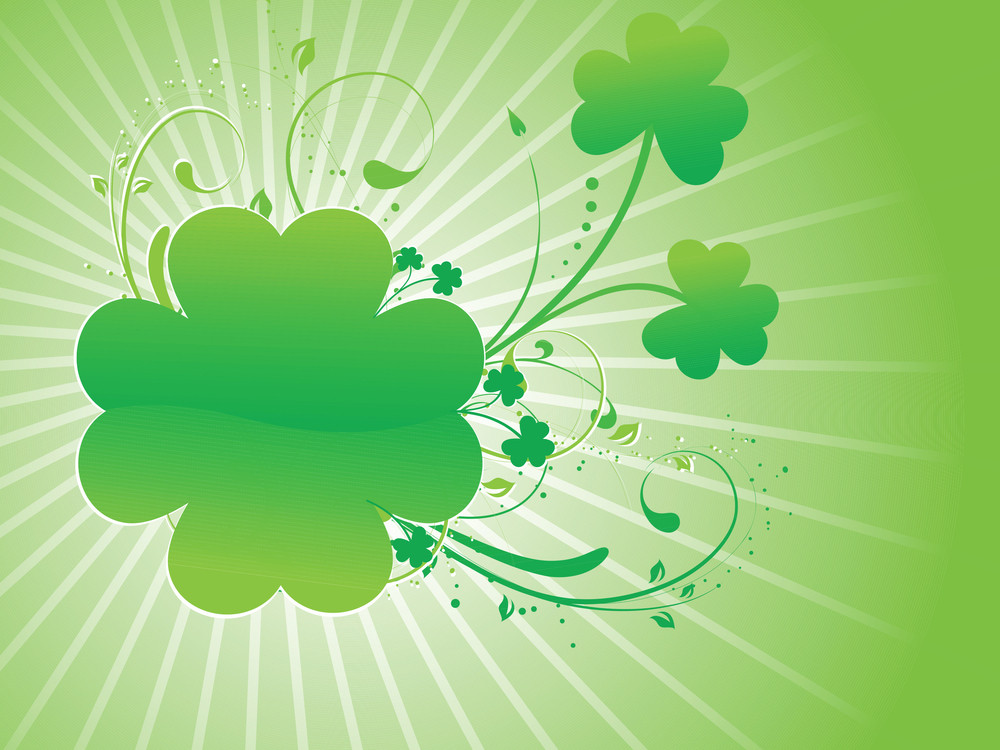 Abstract Shamrock Rays Background 17 March