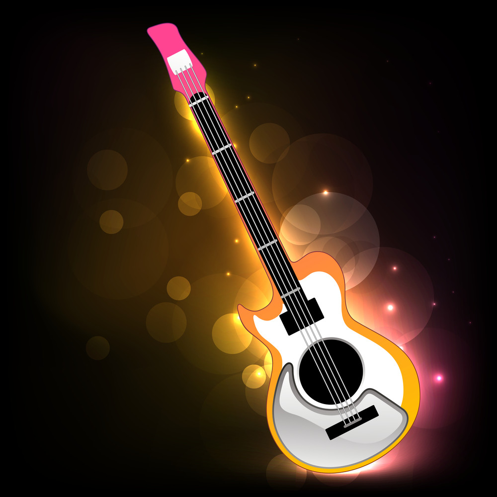 Abstract shiny background with guitar
