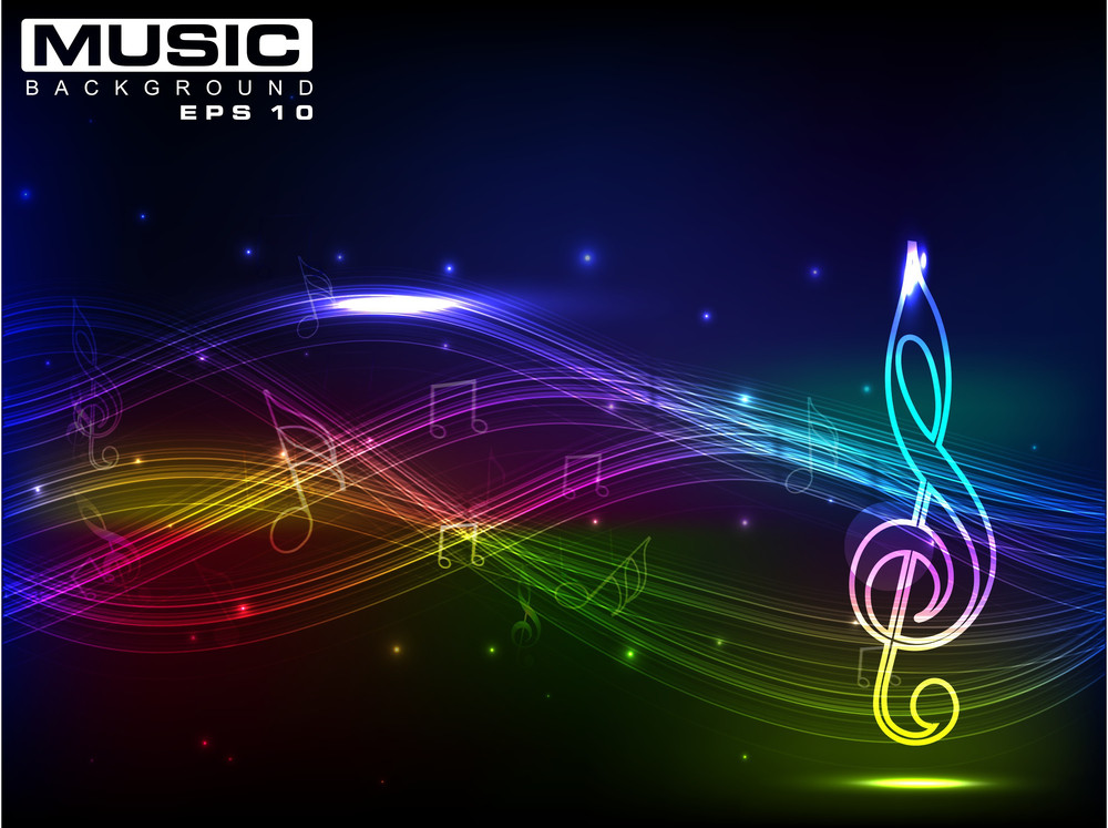 Abstract Shiny Musical Note On Colorful Wave Background