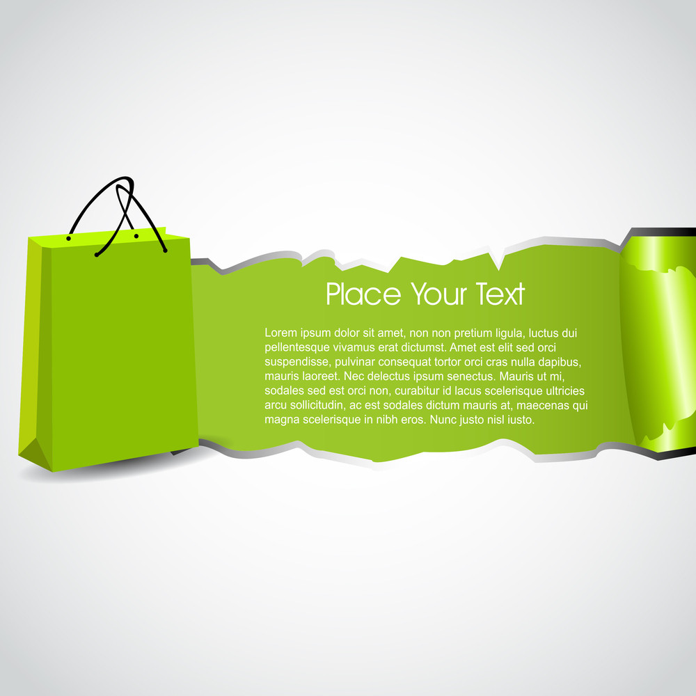 Abstract Shopping Background With Shopping Bag And Space For Your Text. Product Promotion Design With Torn Paper Concept. Eps 10