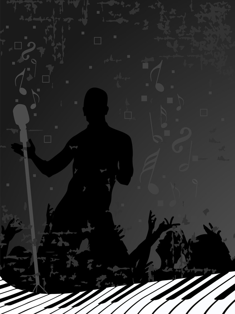 Abstract Silhouette Of A Man With A Mike And Dancing People On Dance Floor. Vector.
