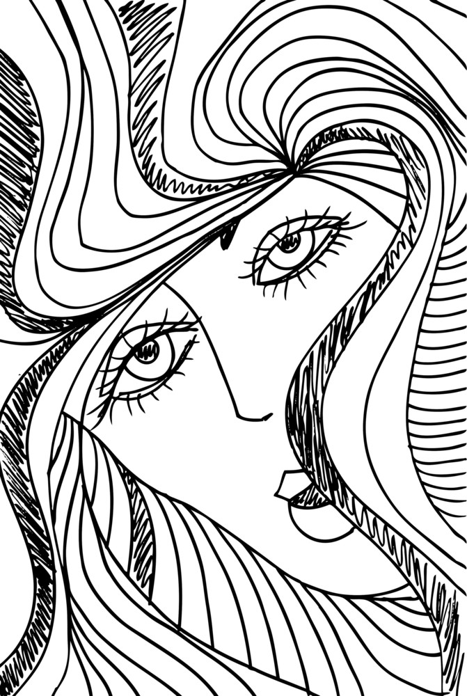 Abstract Sketch Of Woman Face Vector Illustration Royalty