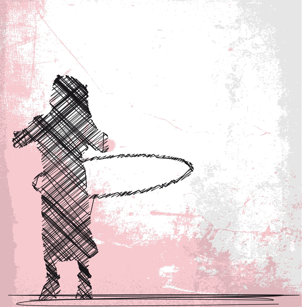 Abstract Sketch Of Young Girl Playing With Hula Hoop. Vector Illustration