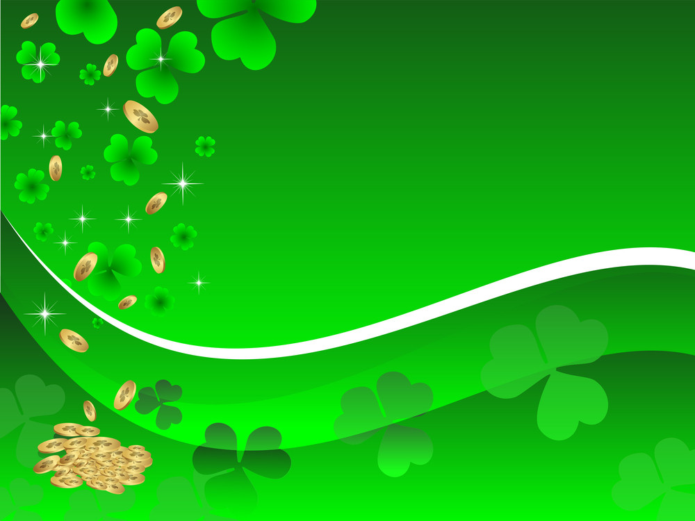 Abstract St Patrick's Day Card With Gold Coins. Vector Illustration