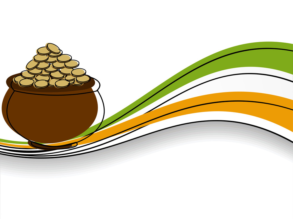 Abstract St Patrick's Pot Vector Illustration .