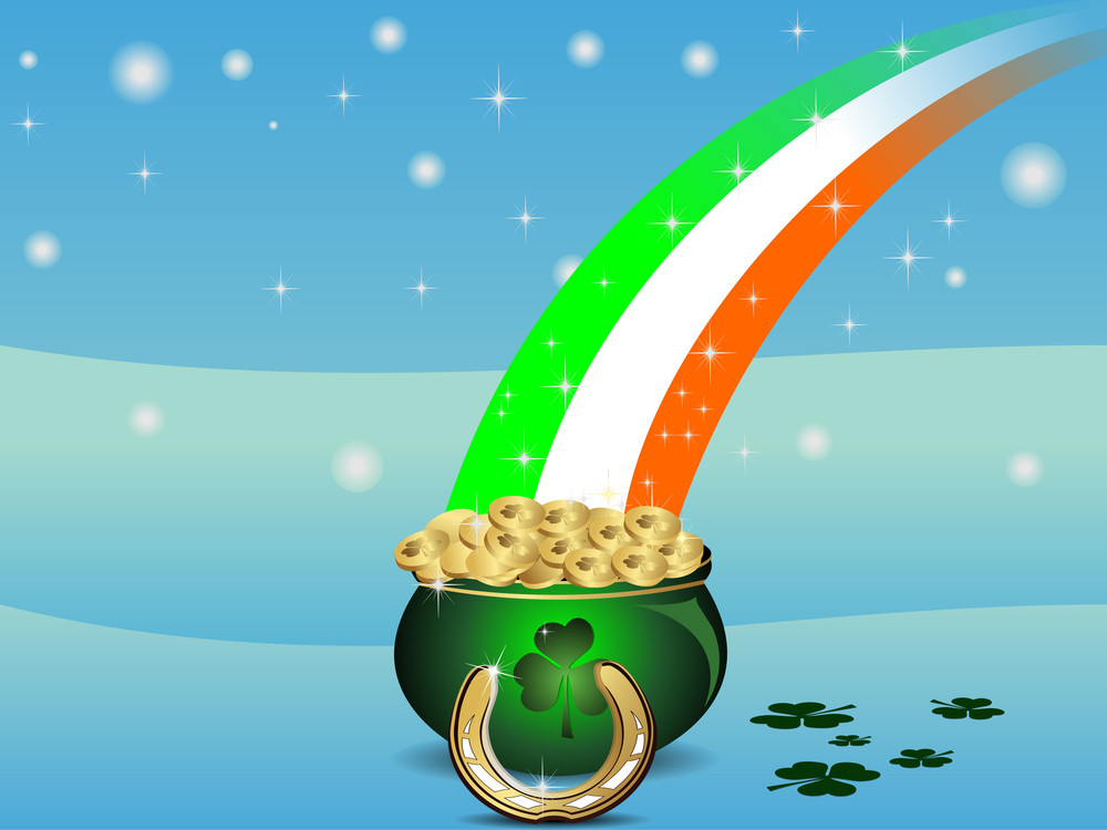 Abstract St Patrick's Pot With Flag Of Ireland. Vector Illustration .