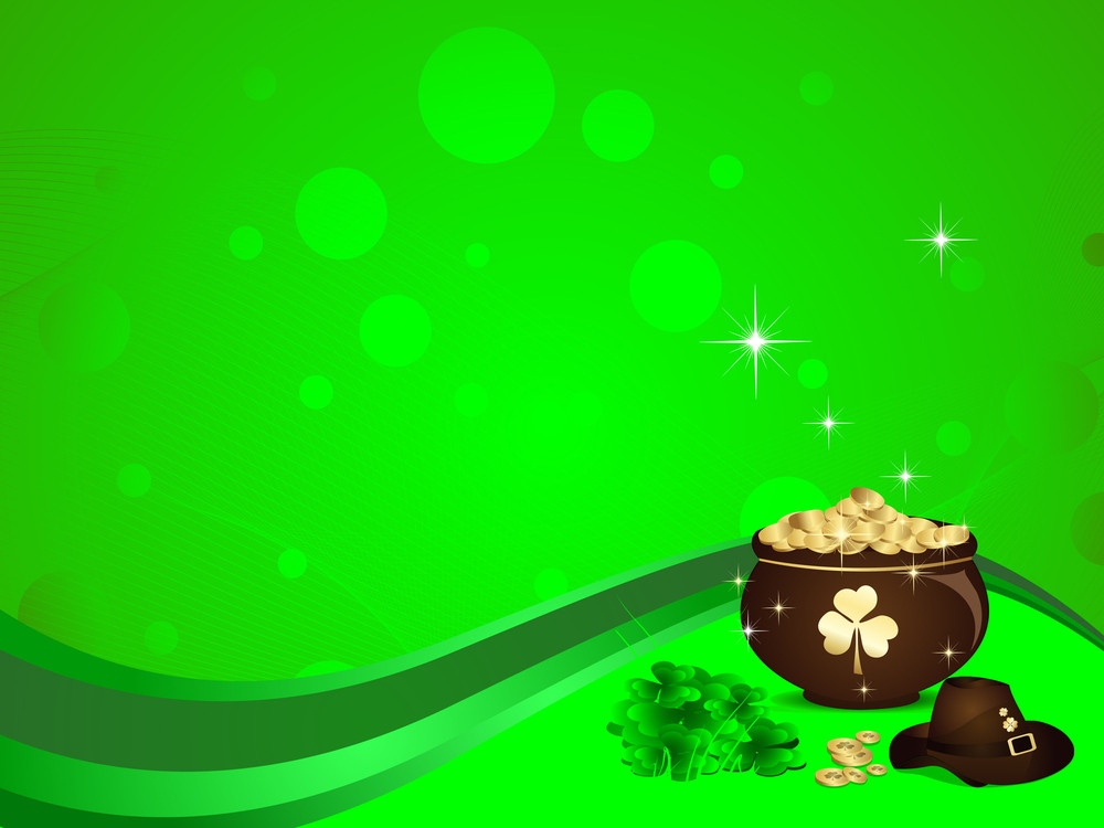 Abstract St Patrick's Pot With Green Background.vector Illustration .
