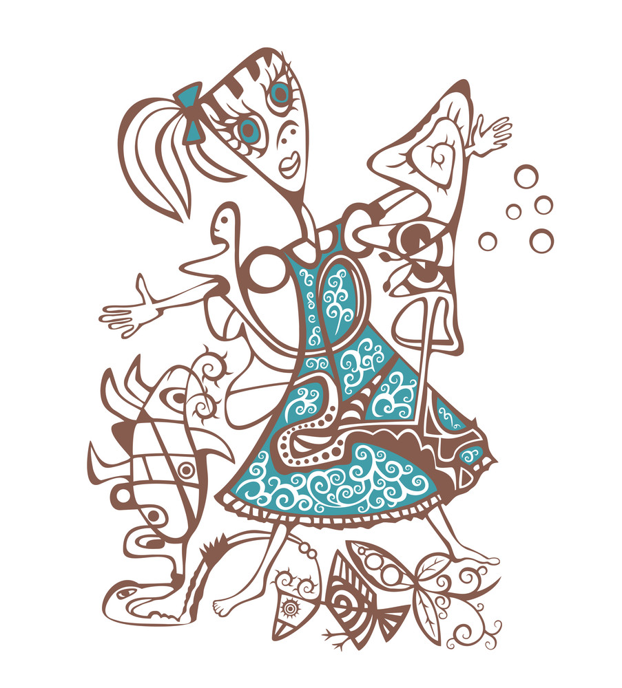Abstract Style Illustration Of Girl.