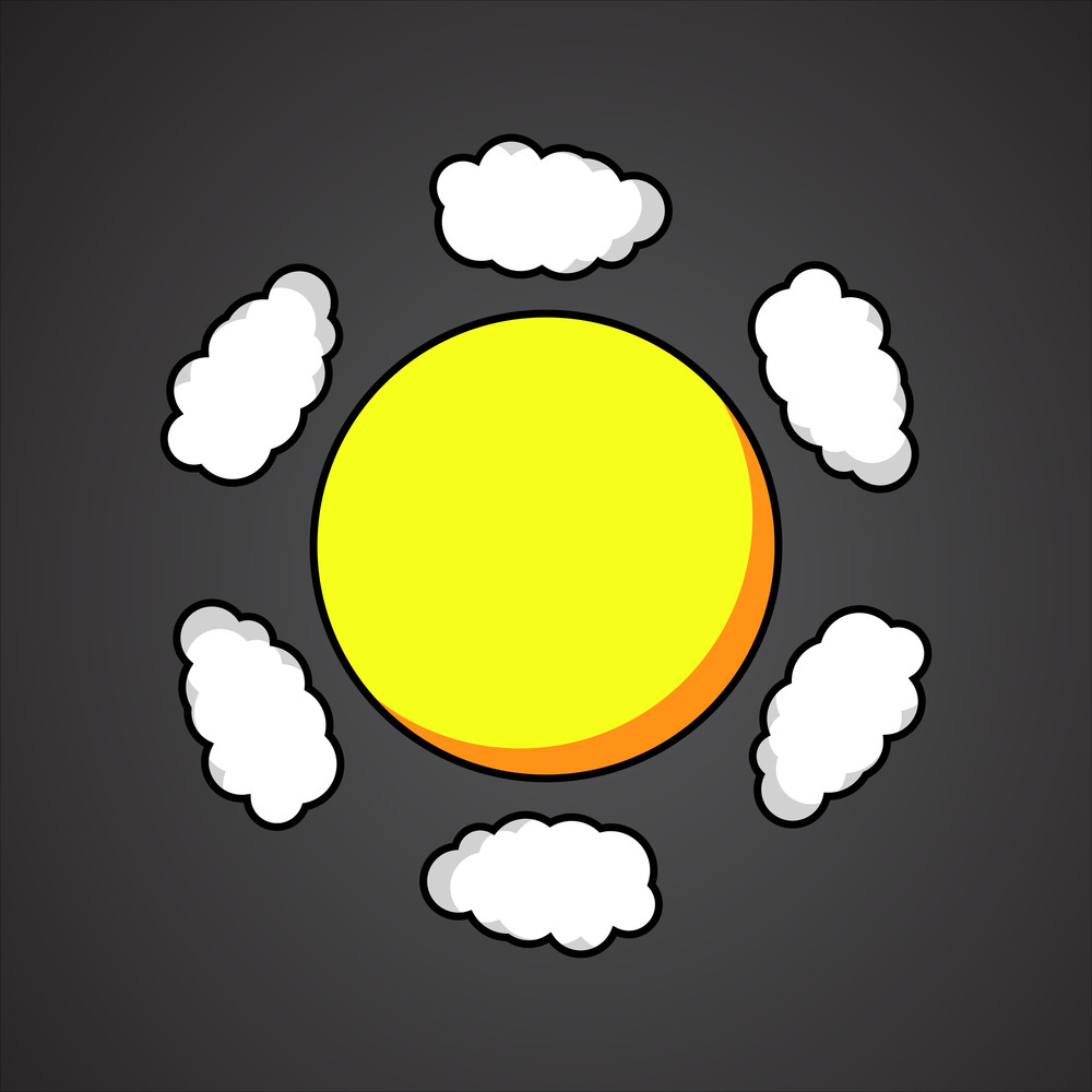Abstract Sun Clouds Vector