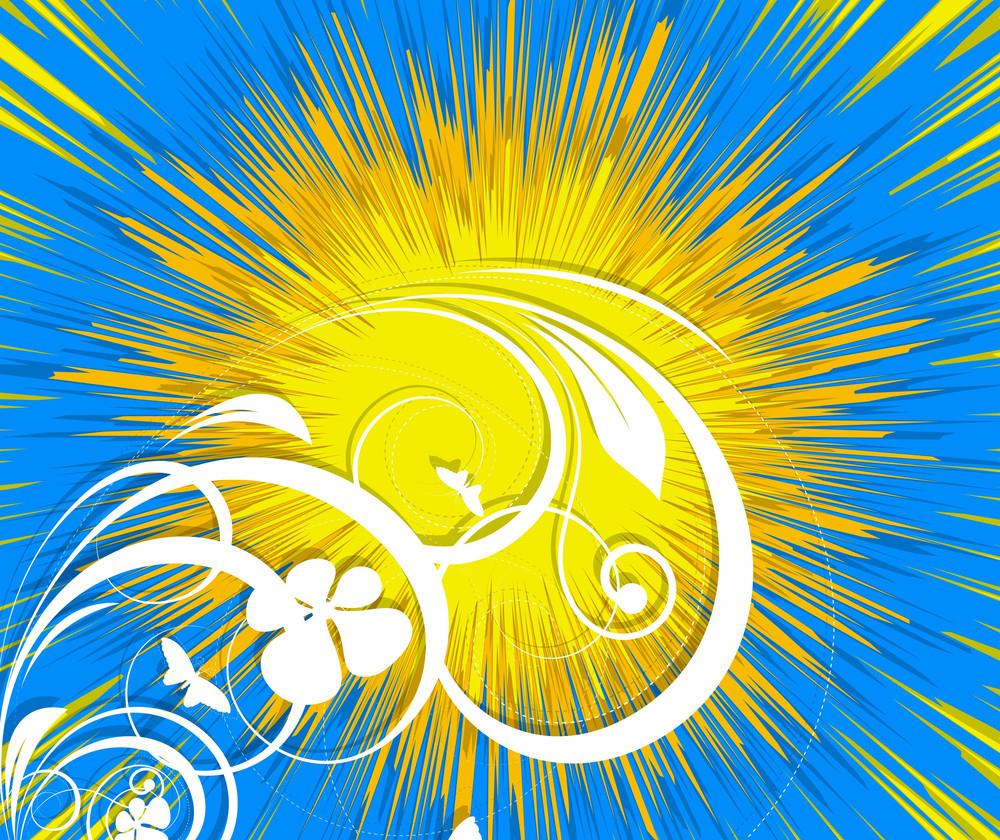 Abstract Sunburst Floral Background