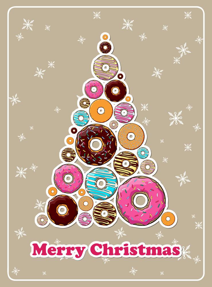 Abstract Vector Christmas Tree Make From Cartoon Donuts.