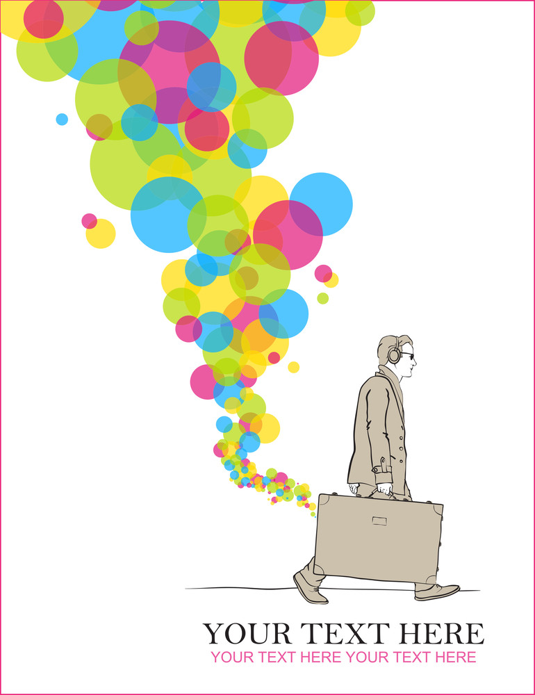 Abstract Vector Illustration Of A Men With Travel Bag And Balloons.