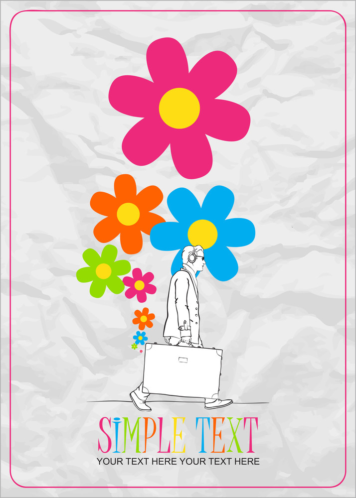 Abstract Vector Illustration Of A Men With Travel Bag And Flowers.