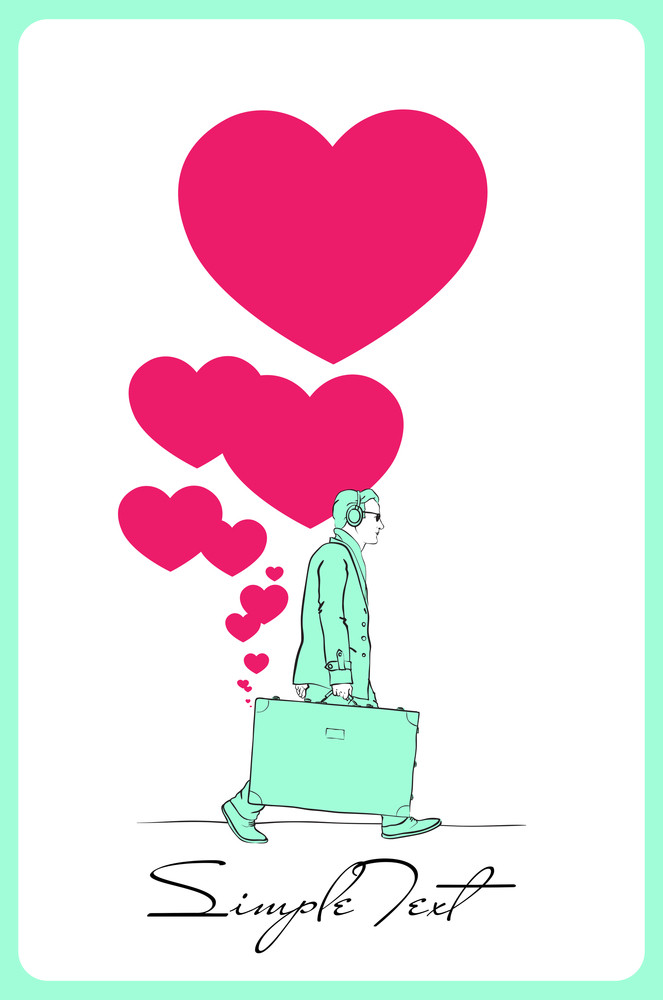Abstract Vector Illustration Of A Men With Travel Bag And Hearts.