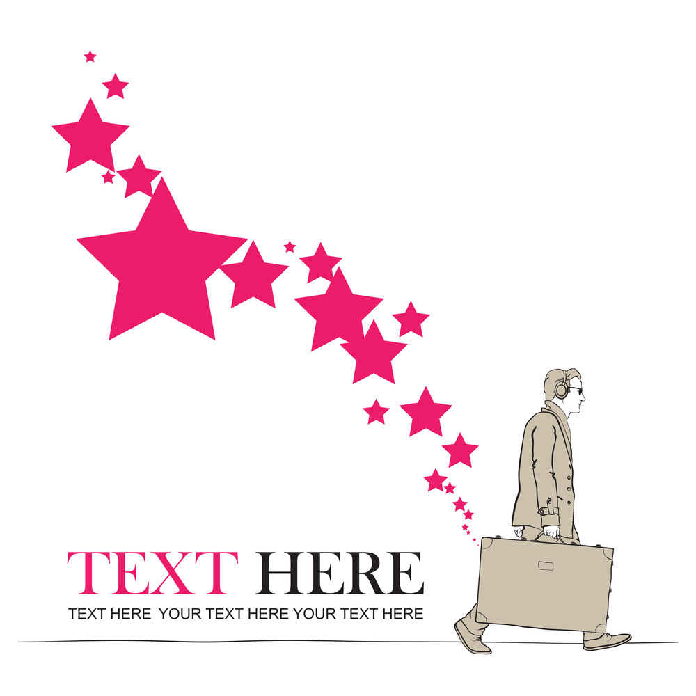 Abstract Vector Illustration Of A Men With Travel Bag And Stars