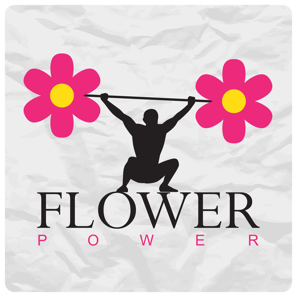 Abstract Vector Illustration Of A Weight Lifter And Flowers On A Paper-background.