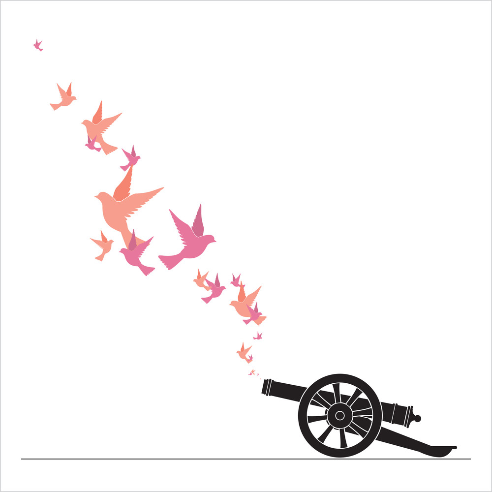Abstract Vector Illustration Of Ancient Artillery Gun And Birds.