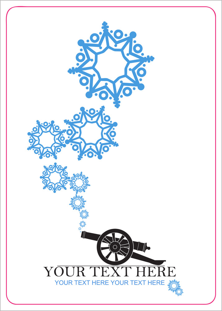 Abstract Vector Illustration Of Ancient Artillery Gun And Snowflakes.