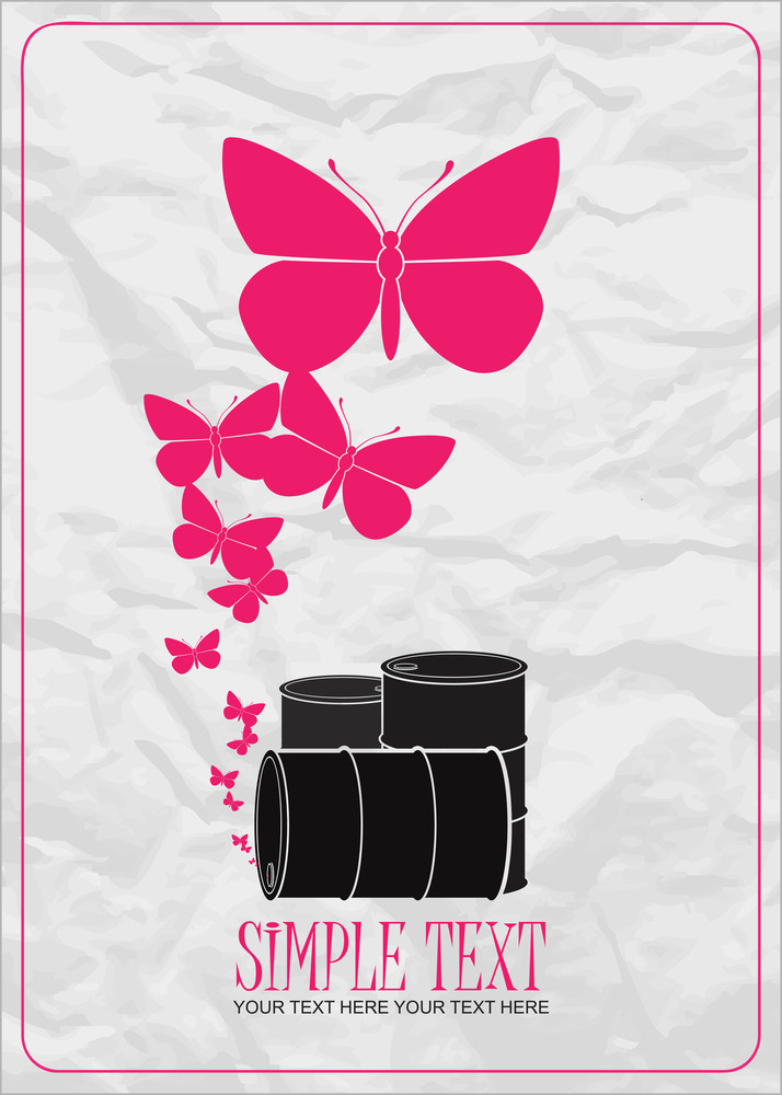 Abstract Vector Illustration Of Barrels  And Butterflies.