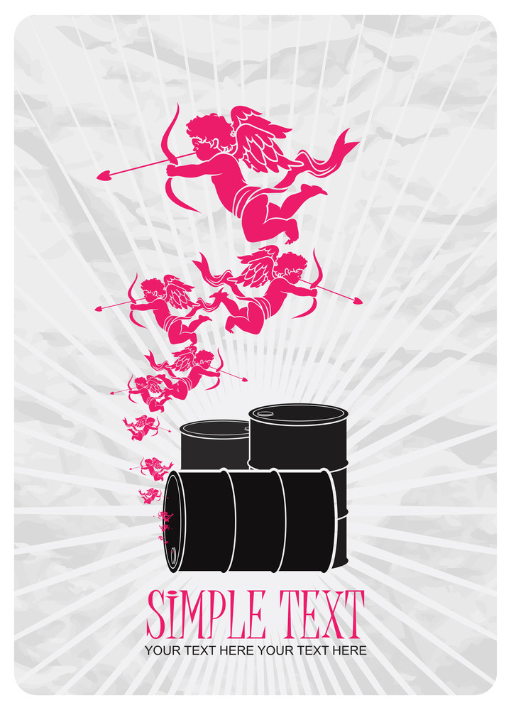 Abstract Vector Illustration Of Barrels  And Cupids.