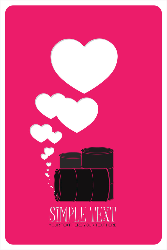 Abstract Vector Illustration Of Barrels  And Hearts.