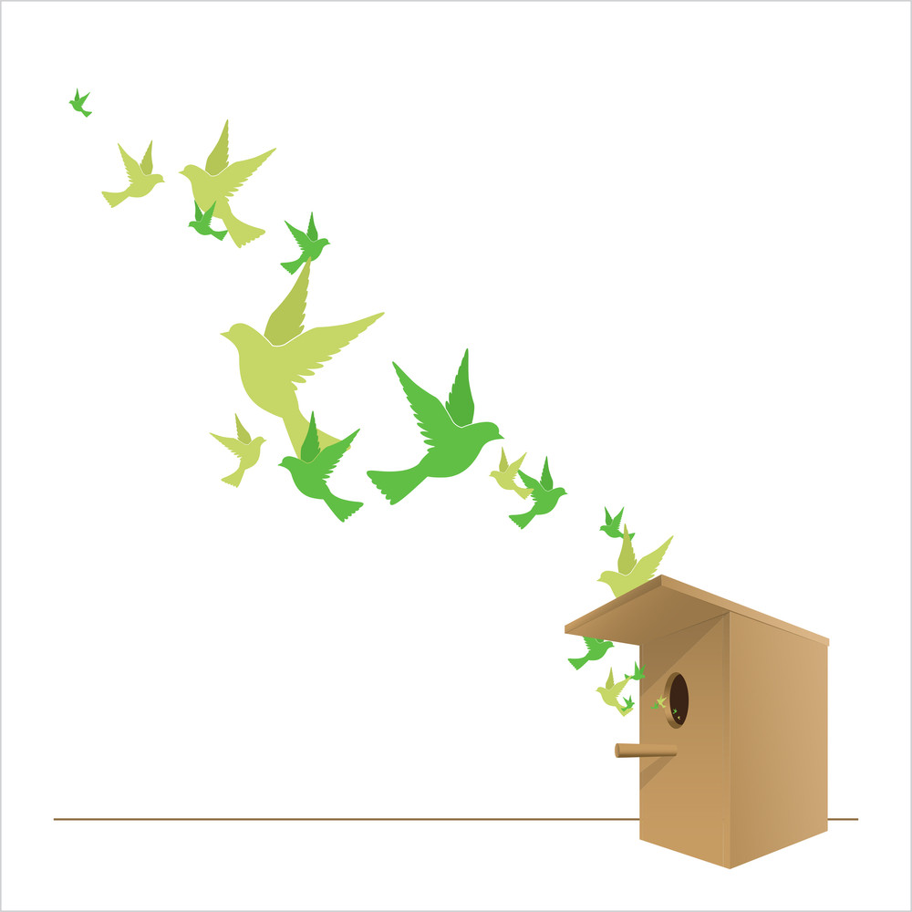 Abstract Vector Illustration Of Birdhouse And Birds.