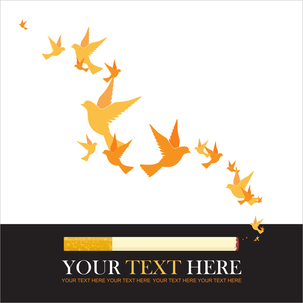 Abstract Vector Illustration Of Cigarette And Birds.