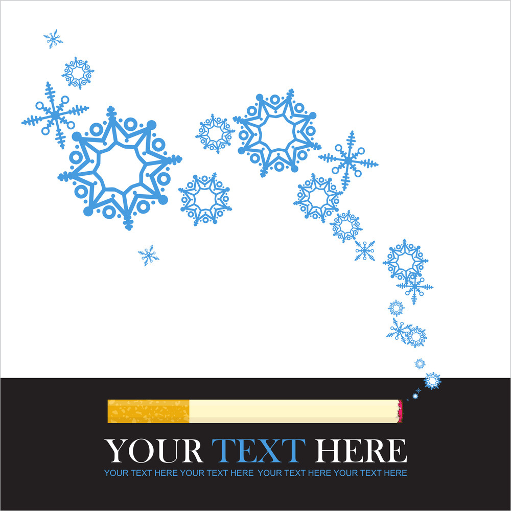 Abstract Vector Illustration Of Cigarette And Snowflakes.