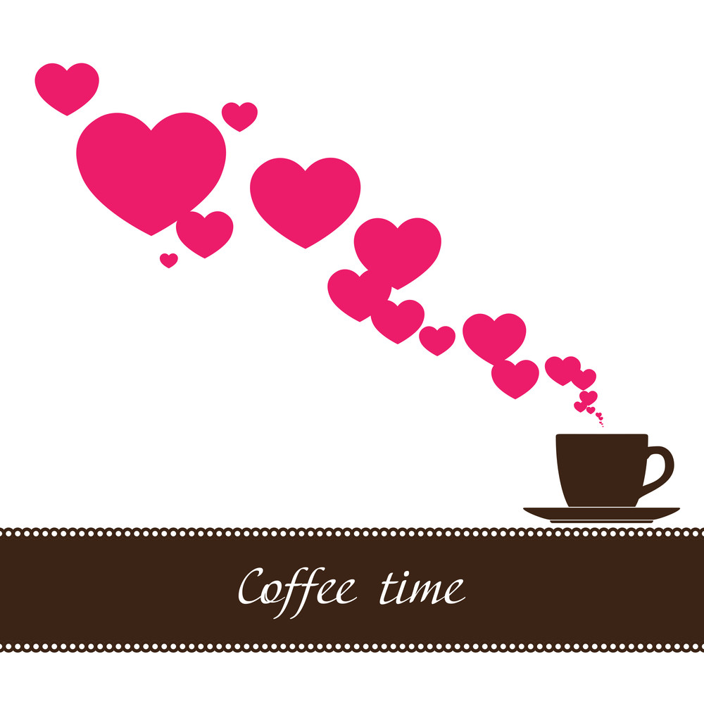 Abstract Vector Illustration Of Coffee-cup And Hearts.