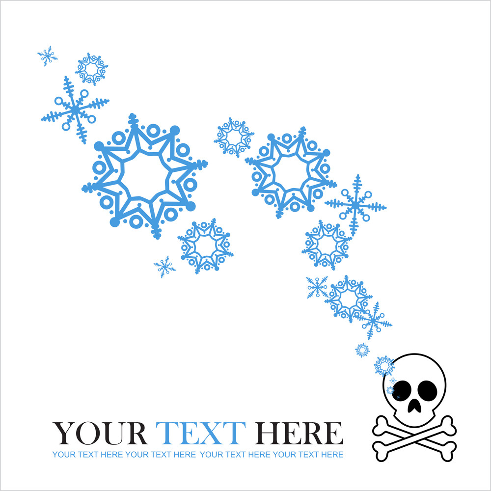 Abstract Vector Illustration Of Cranium And Snowflakes.