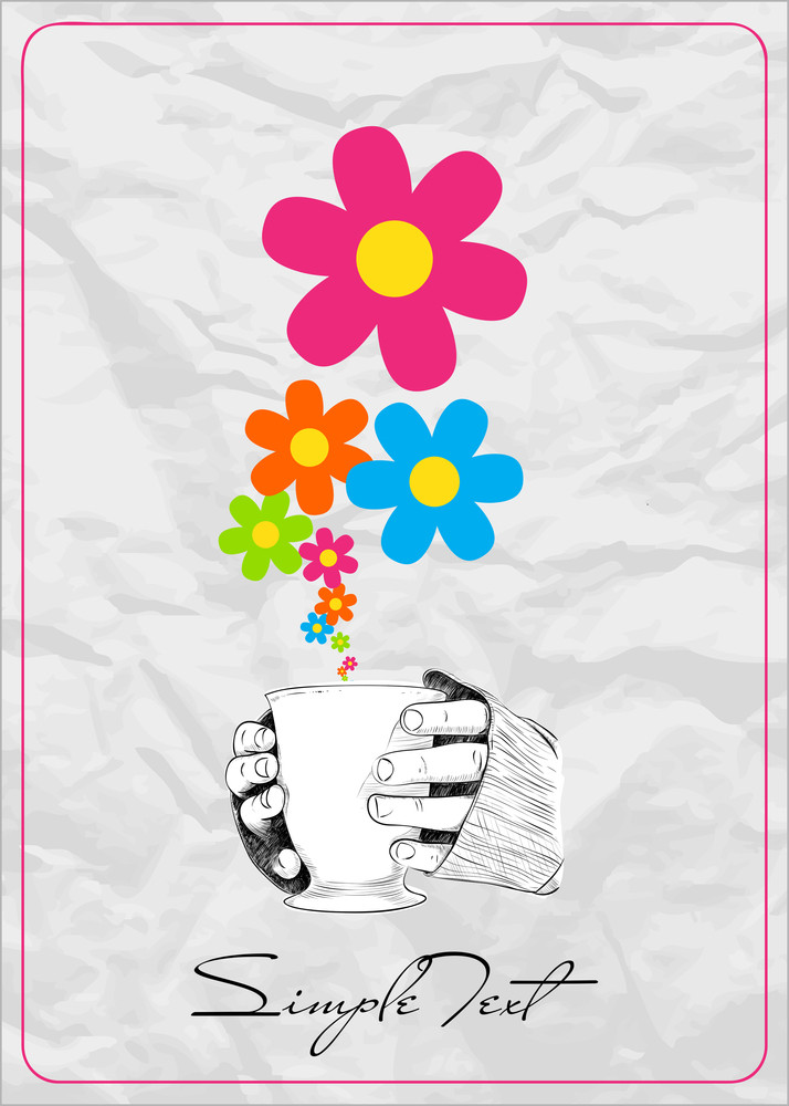 Abstract Vector Illustration Of Cup In Hands With Flowers.