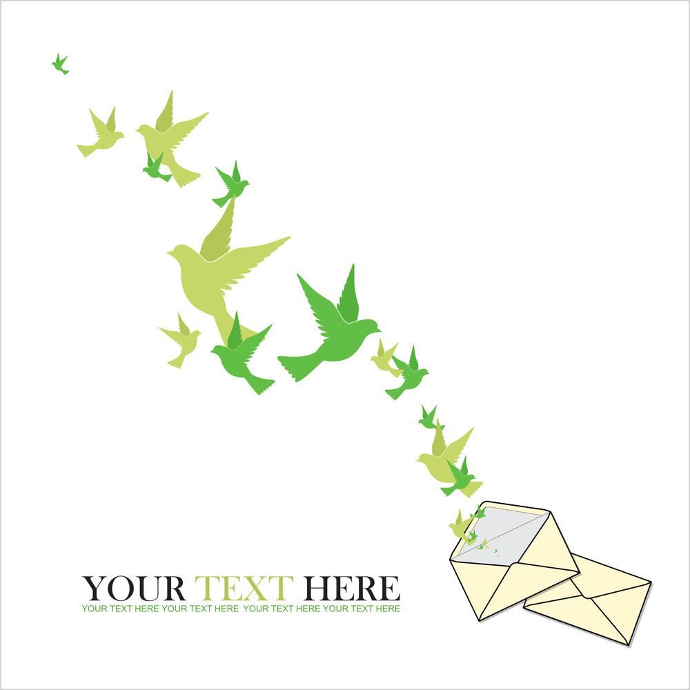 Abstract Vector Illustration Of Envelope  And Birds.
