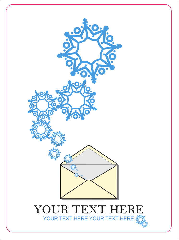 Abstract Vector Illustration Of Envelope  And Snowflakes.