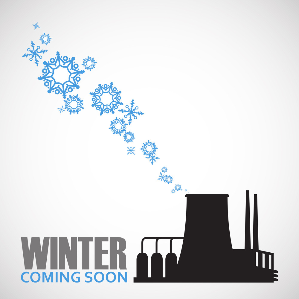 Abstract Vector Illustration Of Factory And Snowflakes.