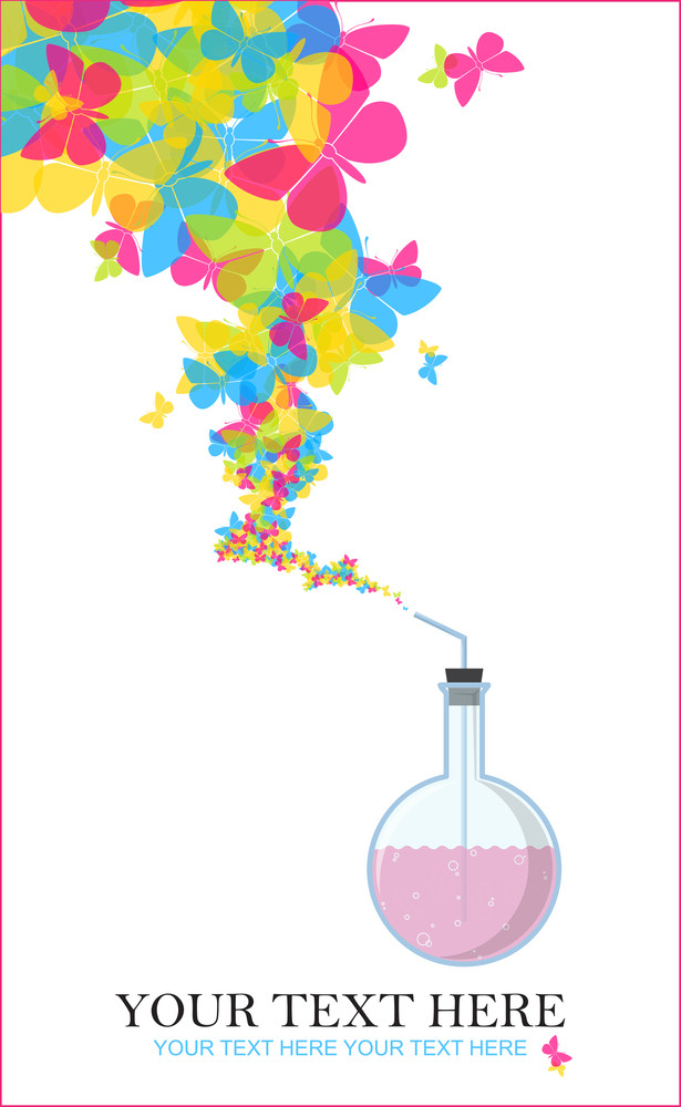 Abstract Vector Illustration Of Flask And Butterflies.