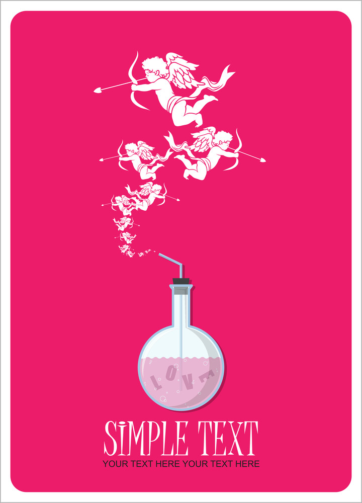 Abstract Vector Illustration Of Flask And Cupids.