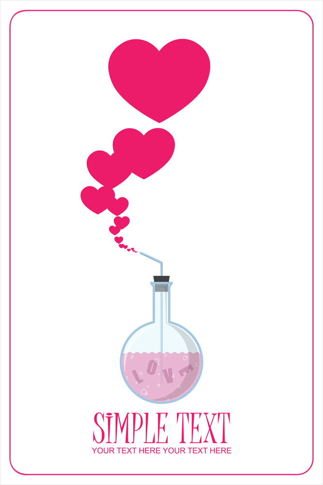 Abstract Vector Illustration Of Flask And Hearts.