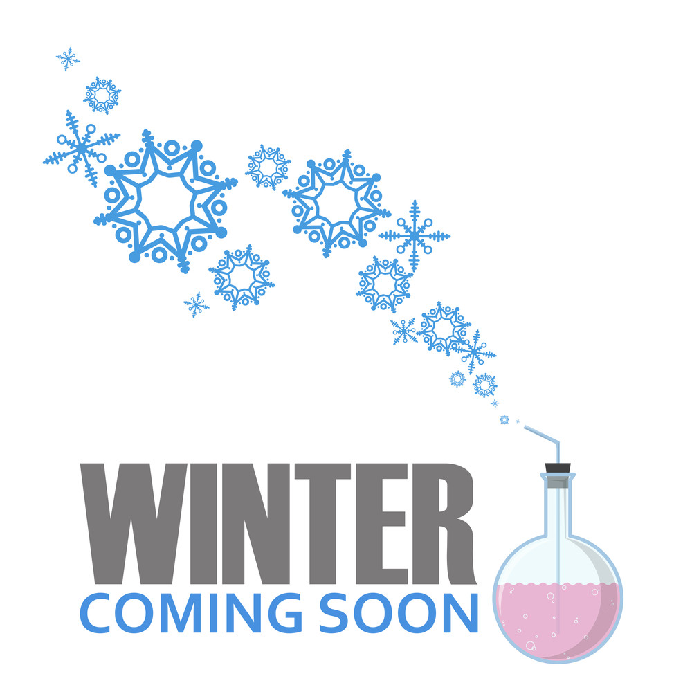 Abstract Vector Illustration Of Flask And Snowflakes.