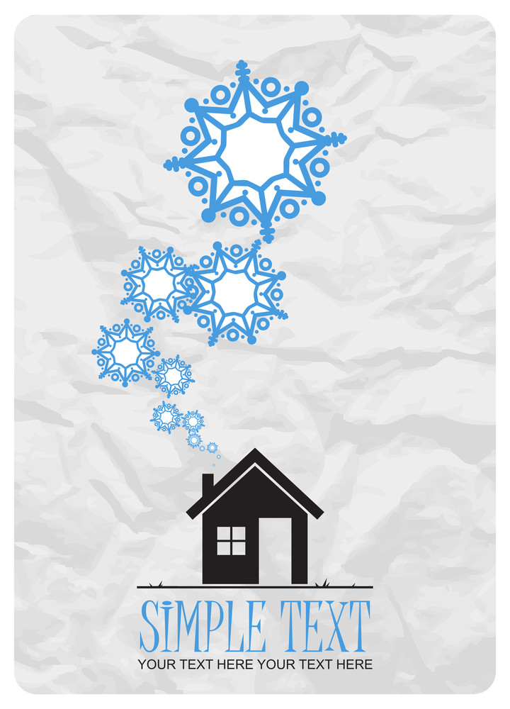Abstract Vector Illustration Of House And Snowflakes.