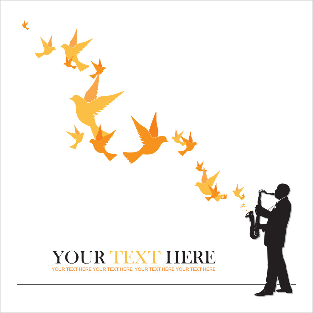 Abstract Vector Illustration Of Jazz Maker And Birds.