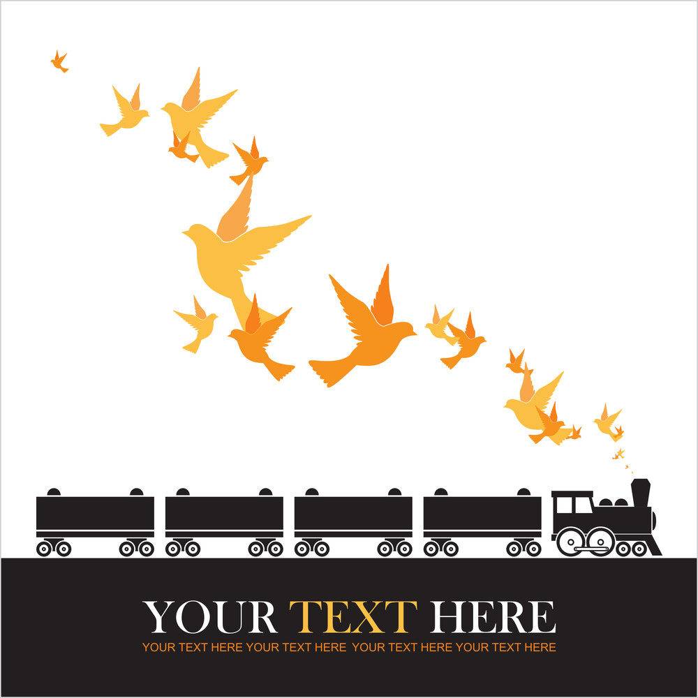 Abstract Vector Illustration Of Locomotive And Birds.