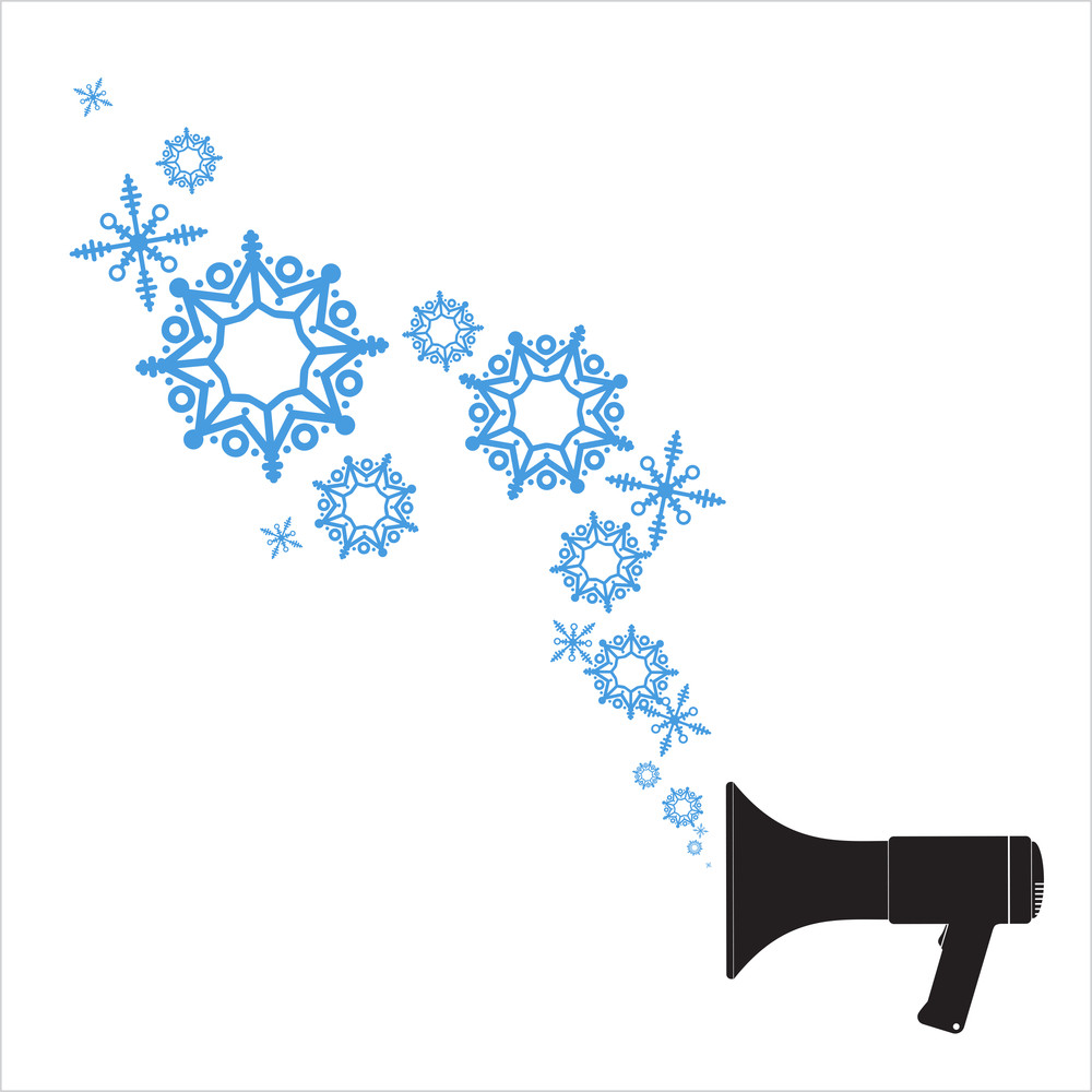 Abstract Vector Illustration Of Megaphone And Snowflakes.